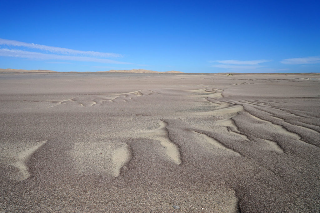 Megaripples like here near Torra Bay on the Namib Skeleton Coast are a dwarf version of the much larger sand dunes, as can be seen in the background.